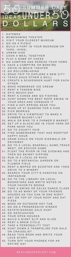 50 summer date ideas under 50 dollars
