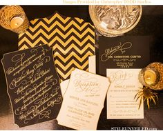Black and Gold is very art deco / East Six / Christopher Todd Studios / A Good Affair Wedding and Events