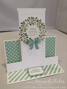 The Craft Spa - Stampin' Up! UK independent demonstrator : The Front Door Centre Step Easel Card Best Friend Birthday Cards, 60th Birthday Cards, Fun Fold Cards, Diy Cards, Folded Cards, Diy Easter Cards, Cascading Card, Step Cards, Window Cards