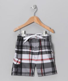Take a look at this Black & Red Swim Trunks - Boys by Kanu Surf on #zulily today!