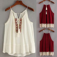 Fashion Womens Embroidered Cami Tassel Drawstring Top Tank Tops shirt Bloues #Affiliate