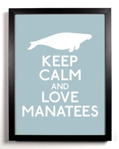 Keep Calm and Love Manatees Manatee 8 x 10 by KeepCalmAndStayGold, $8.99