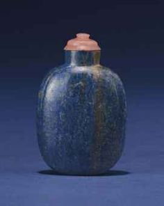 A LAPIS LAZULI SNUFF BOTTLE POSSIBLY IMPERIAL, 1770-1850 The bottle is of rounded rectangular shape, and is raised on a flat foot. 2¼ in. (5.7 cm.) high, glass stopper. Provenance: Lizzadro Collection, Chicago, Illinois, acquired prior to 1960.