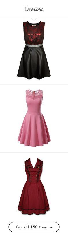 """Dresses"" by jakela778 on Polyvore featuring dresses, short dresses, evening wear dresses, baroque dress, lips dress, wet look dress, polish dress, evening dresses, a line dress and pink lace cocktail dress"