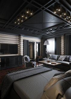 Vladimir Bolotkin blog: black bedroom. love the elegance of the black ceiling