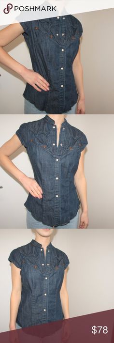 True Religion Denim Top True Religion Shirt.  Short sleeves. True Religion Denim top. Cap sleeves.  Flattering, fitted silhouette. Dark wash denim. Snap closures in front.  Used item: any wear shown in pictures. Worn only once.   Bundle Up!  Offers always welcome : ) True Religion Tops