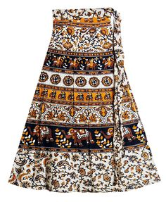 e42ff59364 Elephants, Horses and Flower Print on White Wrap Around Cotton Skirt (Cotton)  Wrap. Dolls of India