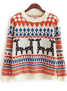 Women's Cute Reindeer Crew Neck Knitted Christmas Sweater