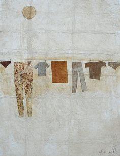 """Clothes Line"" Scott Bergey 12 x 9 , mixed media collage on paper 2013 Collages, Collage Art, Laundry Art, Original Artwork, Original Paintings, Art Graphique, Love Painting, Art Techniques, Textile Art"