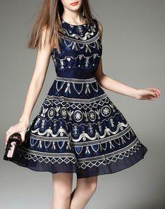 Blue Embroidery Sleeveless Mini A-line Skater Dress, Blue, YUJIA | VIPme