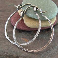 Hammered Silver Hoop Earrings Rustic Jewelry Hinged Hoops Minimalist Jewelry 1 Inch Small Hoop Oxidized Sterling Silver Hoop Earrings