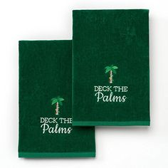 """""""Deck The Palms"""" Decorative Holiday Hand Towels 2-Pack - Beachfront Decor"""