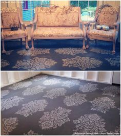 DIY Vintage Style Home Decor Ideas with the Antoinette Damask Stencils - Royal Design Studio Wall Stencils, Ceiling Stencils, Floor Stencils, and Furniture Stencils