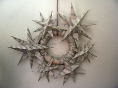 paper christmas star wreath