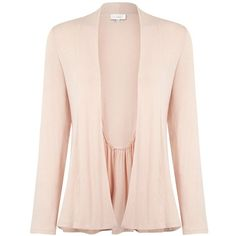 Kaliko Waterfall cardigan ($42) ❤ liked on Polyvore featuring tops, cardigans, pink, women, pink jersey, ruched long sleeve top, summer tops, pink top and jersey tops