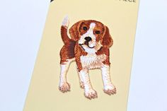 Beagle Dog Applique by Wrights- Iron on patch- Embroidery Applique- 2 X 3