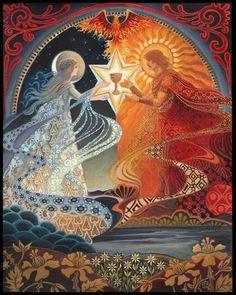 Alchemistische Hochzeit Heilige Ehe psychedelischen 16 x 20 Giclée Leinwand drucken Mythologie böhmischen Zigeuner Göttin Kunst