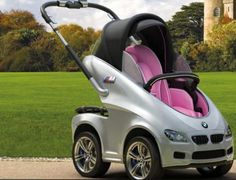 BMW Stroller Is driving an expensive car while wearing expensive clothes and pricey jewelry not enough of a show of wealth for you? Then you need to make sure your kid is strolling in style with this BMW Stroller, the ultimate show of infantile decadence.