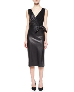 Bella Leather & Ponte Tie-Waist Sheath Dress by Diane von Furstenberg at Neiman Marcus.
