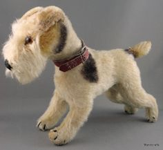 Steiff Foxy Fox Terrier Dog Mohair Plush 17 cm no ID 1950s 60s Leather Collar