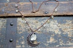 Citrine and the Antiqued Copper Crescent Moon Necklace by earthcharms on Etsy