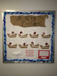 This is the bulletin board I made for my CI 424 Social studies methods course. The board requires student to match explorers to the boat containing the description of their journey. Explorers Unit, Early Explorers, Study Methods, Classroom Environment, School Decorations, Us History, Classroom Decor, Bulletin Boards, Social Studies