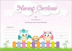 Owl Naming Certificate - Pink Wedding Renewal Vows, Naming Ceremony, Name Day, Certificate Templates, Baby Names, Blessed, Owl, Pink, Free