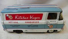 Vintage Tin Toy Japan Joe's Kitchen Wagon Catering Van Friction Food Truck