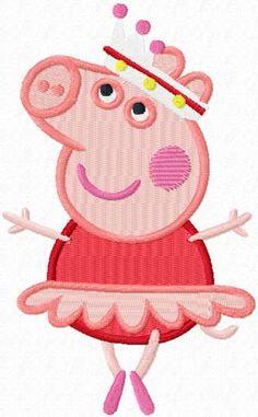 Peppa Pig ballerina machine embroidery design