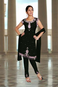 Churidar Suit Embroidered With Sequins Stones. - Click Image to Close