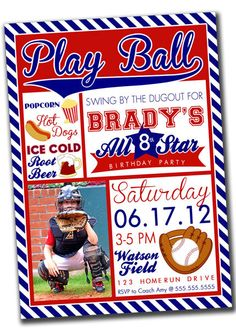 Baseball Sports Party Invitation with Photo - YOU PRINT - Digital File. $15.00, via Etsy.