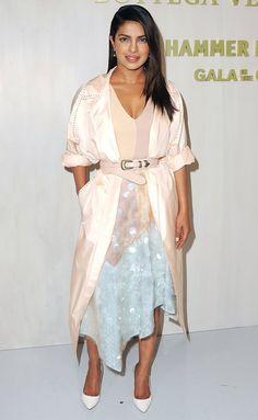 Priyanka Chopra in a pastel dress and pink trench coat