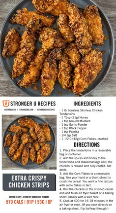 Made these/cornflakes didnt stick as much as I would have liked though. High Protein Recipes, Low Calorie Recipes, Diet Recipes, Chicken Recipes, Cooking Recipes, Healthy Recipes, Recipies, Weekly Recipes, Weekly Menu