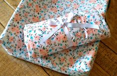 Pink and Blue Floral ,Changing Pad Cover & Baby Blanket Set / Baby Nursery