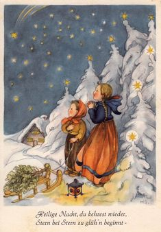 Vintage Christmas Card by Margret Savelsberg ~ Orange Accents Christmas Time Is Here, Old Christmas, Vintage Christmas Cards, Retro Christmas, Christmas Pictures, Christmas Greetings, Illustration Noel, Christmas Illustration, Illustrations
