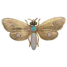 Art Nouveau Butterfly Brooch Opal Diamond Garnet 14 Karat Gold For Sale at Insect Jewelry, Opal Jewelry, Luxury Jewelry, Jewelry Art, Jewelry Design, Gold Jewellery, Boho Jewelry, Fine Jewelry, Antique Brooches