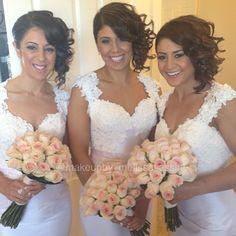 #nofilters Mina's beautiful bridesmaids last week #pretty #soft pink #ivory #makeup #makeupartist #melissasassine #hair #hairstlist @mariamelachihairstylist #flowers #roses #instawedding #wedding #weddingday #weddingblogger #bridesmaids #Padgram