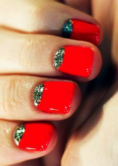 sparkly half moon nails