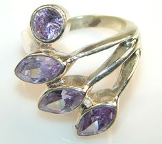 Awesome Faceted Pink Amethyst Sterling Silver ring s. 8 1/4