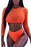 Laucote Womens Long Sleeve Rashguard Swimwear High Waist 2 Pieces Bathing Suit ,Orange,Small   Features:Sexy See Through Long Sleeve Crop Top,High Waist Cheeky Bottom Rash Guard Swimsuits Occasion:Best for swimming,beach party,SPA,bathing,Quickly dry and comfortable Season: Summer,perfect to...