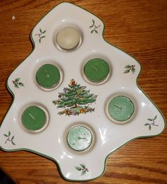 Spode Christmas Tree TREE SHAPED Votive Tealight Holder Holiday Green tea light  #spode