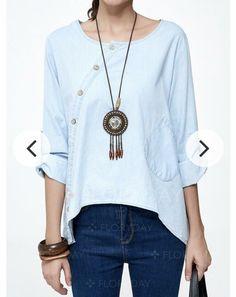 1df96a9970b #DenimDress BNWT! Floryday Casual Denim Blue Shirt Blouse Tunic Top 3/4  Sleeves