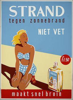 Strand tegen zonnebrand niet vet f 1.50 maakt snelbruin - reclame 1951-1952