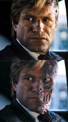 """Above is Aaron Eckhart portraying Two-Face on set with make-up and motion capture markers. Below is the finished effect. """"The Dark Knight"""" (2008)"""