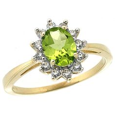 10k Yellow Gold Natural Peridot Ring Oval 7x5mm Diamond Halo size 7 * You can find out more details at the link of the image.