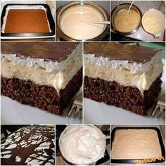 OBLíž PRST 5 vajec-100g prášk cukru-2 PL kakaa-100g polohr muky-PDP-0,5 dl oleja, maslo, cokolada, na ZLTKOVY KREM.-_5 žltkov, 2 dl mlieka,2 PL hl muky, vanil cukor, 250 g masla SNEH.-_5 bielkov,150 g prašk cukru, na poliatie-roztop cokolada CESTO:_Žltky šlaháme s cukrom, pridáme sneh, kakao, muku s PDP a olej, vymiešame, vylejeme na plech a dáme piecť na 200°20 min. ZLTKOVY KREM:_žltky šlaháme s mliekom, mukou a cukrom nad parou- vychladnuť a dáme maslo SNEH: Bielka šlaháme s cukrom nad…