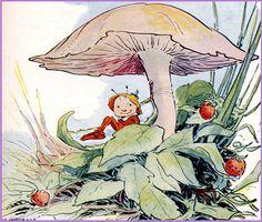 Vintage Illustration--Friendly Fairies--Elf Under Mushroom