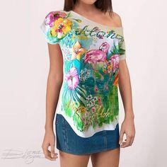c70f42953eb24 Tropical Blouse Handpainted Flamingo Blouse Aloha Tunic One Aloha Tshirt