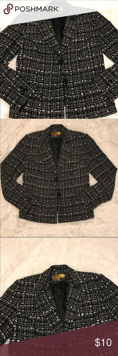 Black and White Bergamo Suit Jacket Black with white BERGAMO by EBI 2 button suit jacket. Fully lined and in like new condition. No stains, holes or rips. Bergamo by e.b.i. Jackets & Coats Blazers