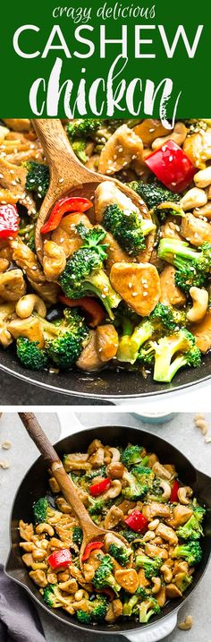 Healthy Cashew Chicken Stir Fry- an easy 20 minute guilt-free gluten free skinny version (plus paleo friendly options) of the popular classic Chinese takeout dish. Juicy chicken, tender crisp broccoli and red bell peppers coated in a delicious savory sauce. Best of all, this recipe comes together in just one pan! Perfect for busy weeknights! With a step-by-step how to video! Weekly meal prep for the week and leftovers are great for lunch bowls for work or school. #chicken #recipe